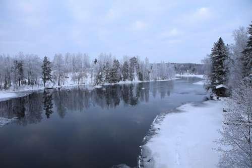 Winter River Snow Landscape Finnish Sastamala