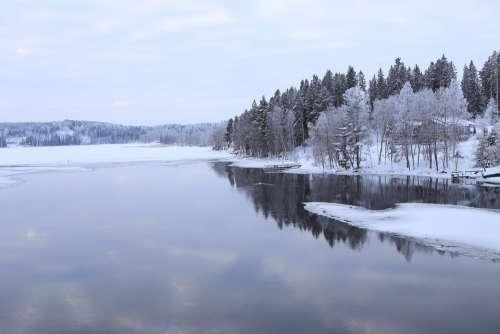 Winter Snow Cold Landscape Nature Ice River