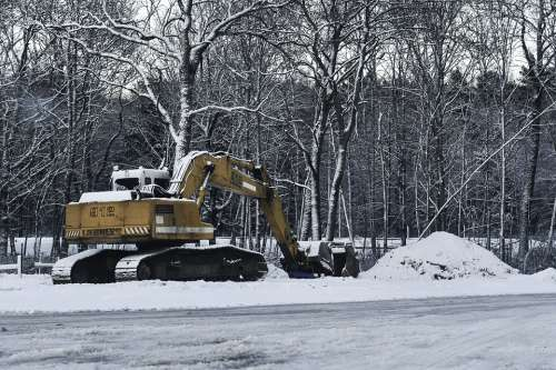 Winter Yellow Roadworks Break Time Machinery