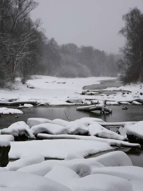 Winter Isar Munich Snow Wintry Nature