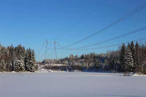 Winter Snow Frost Countryside The Power Line