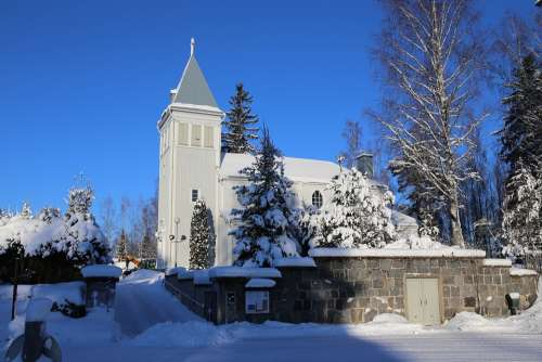 Winter Snow Frost Church Moss River Cold