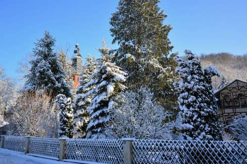 Winter Snowy Frosty Fachwerkhaus
