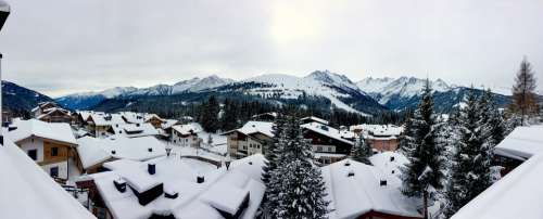 Winter Austria Alpine Mountains Panorama Snow Sky