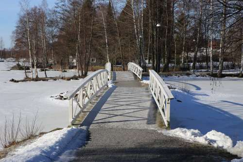 Winter Snow Landscape Bridge Finnish Sastamala