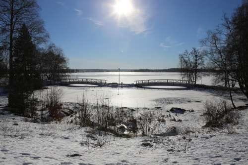 Winter Snow Landscape Sun Spring Bridge Sky