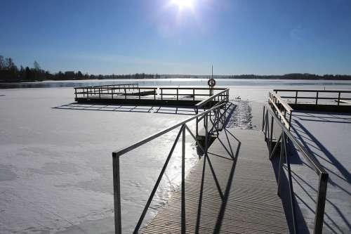 Winter Ice Snow Pier Sky Sun Kokemäki Sastamala