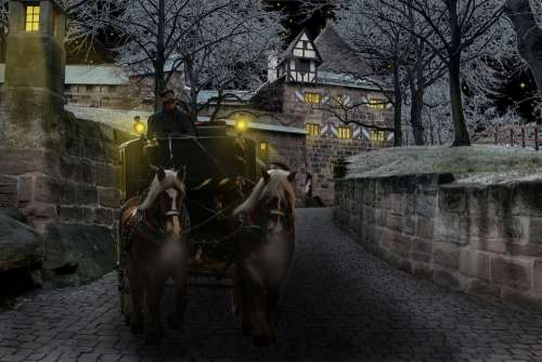Winter Coach Castle Cold Surreal Horses Night
