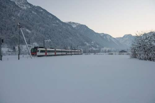 Winter Train Railway Snow Rails Switzerland