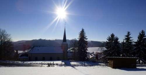 Winter Landscape Snow White Nature Church Snowy