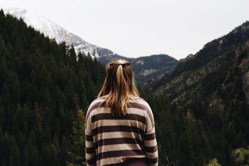 Woman Female Thoughtful Alone Mountain Thinking