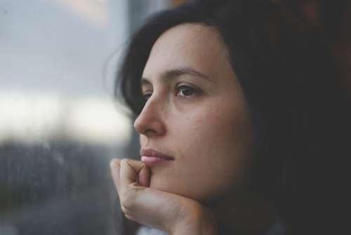 Woman Thoughtful Pensive Young Face Caucasian