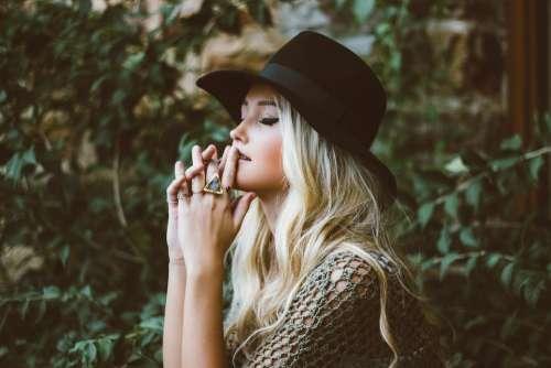 Woman Girl Blonde Hair Blonde Woman Black Hat