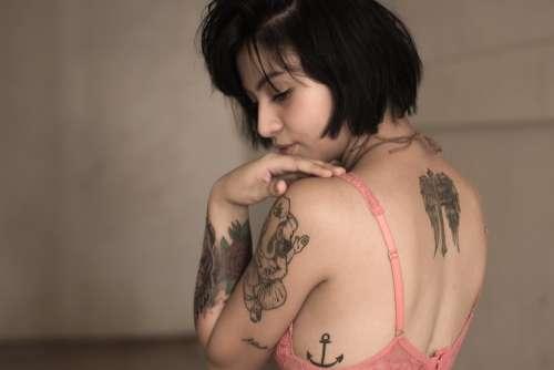 Woman Tattoos Female Model Fashion Girl Lingerie