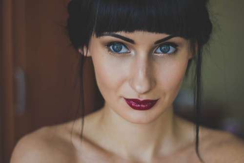 Woman Girl Eyes Model Lips Portrait Lipstick