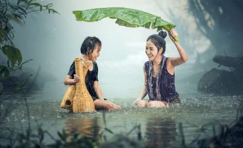 Woman Young Rain Pond Cambodia Girl Happy Kids