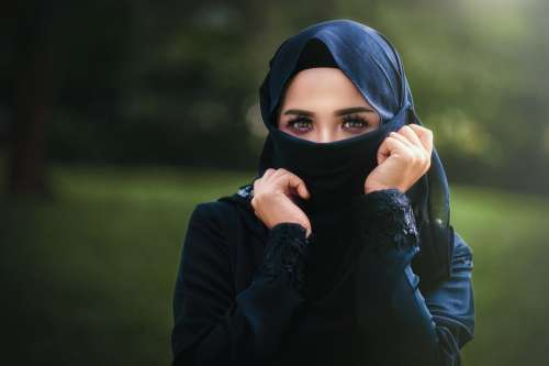 Woman Arabic Islam Scraf Hidden Hood Face Veil