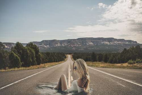 Woman Asphalt Road Horizon Water Course Girl