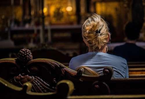 Woman Church Prayer Religion Christian Catholic