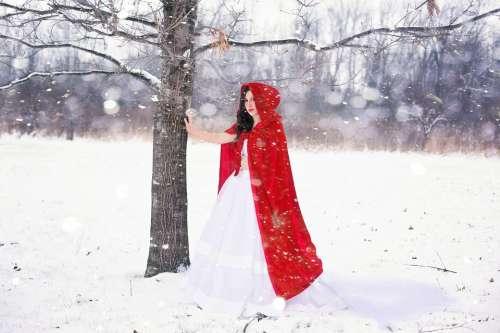 Woman Pretty Happy Girl Winter Snow White Cold