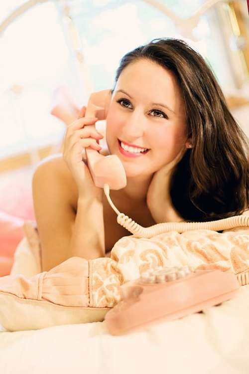 Woman Pretty Hot Erotic Telephone Girl Vintage