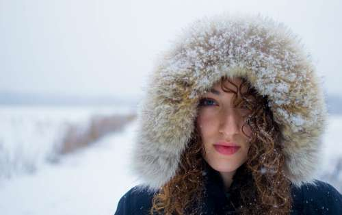 Woman Female Head Face Winter Snow Adult Person