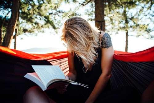 Woman Reading Book Read Hammock Leisure Female