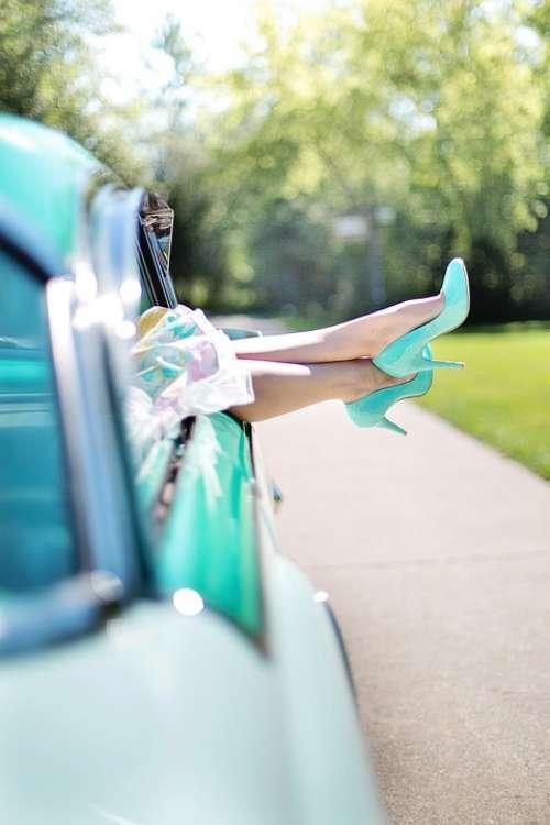 Woman'S Legs High Heels Vintage Car Turquoise 1950S
