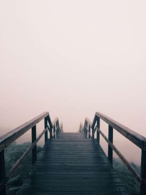 Wooden Bridge Foggy Bridge Fog Outdoor Path Mist