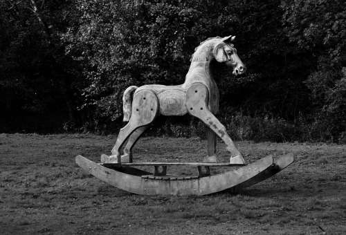 Wooden Rocking Horse Sculpture