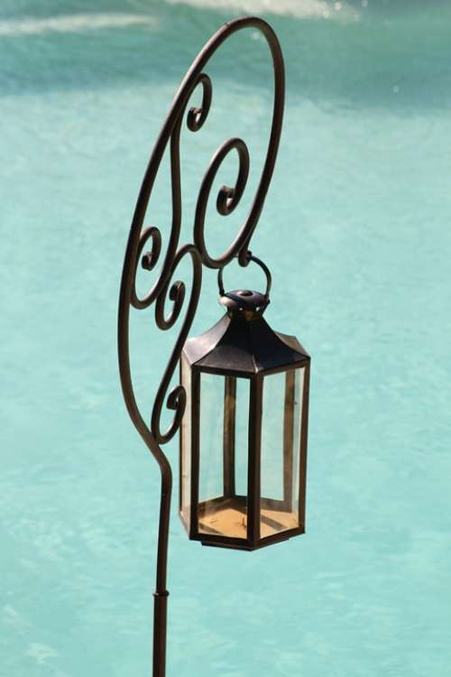 Wrought Iron Swimming Pool Blue Provence