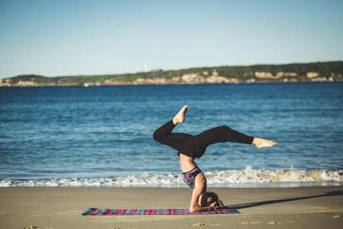 Yoga Balance Zen Beach Ocean Meditation Person