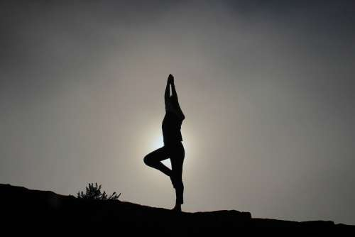 Yoga Pose Silhouette Person Stand Sunset