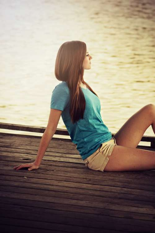 Young Girl Pretty Beauty Hair Relaxing Resting