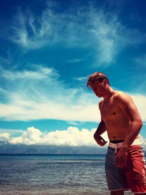 Young Man Beach Man Young Sea Ocean Sexy Love