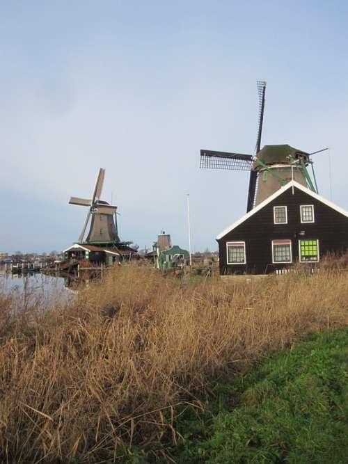 Zaandam Mills Zaanse Schans Water View Landscape