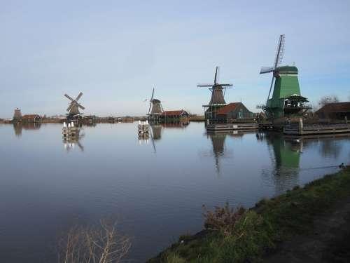 Zaandam Mills Zaanse Schans View Landscape