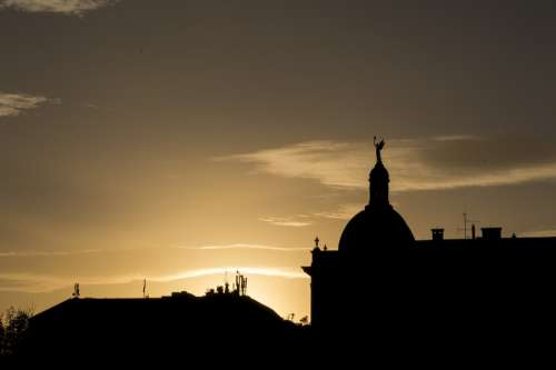 Zagreb Silhouette Sunset Croatia Europe Town City
