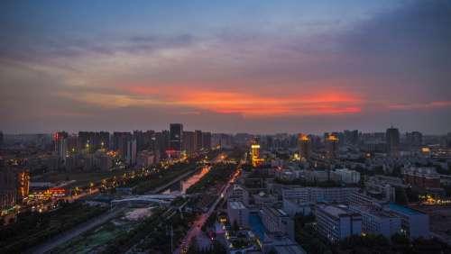 Zhengzhou Lights Sunset City At Dusk Dong Feng Qu