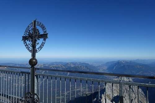 Zugspitze Cross Alpine Summit View Mountains