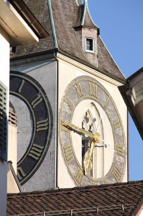 Zurich Clock Steeple Switzerland St Peter Building