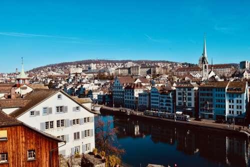 Zurich Switzerland Swiss River Landscape Limit
