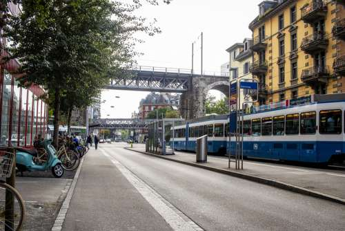 Zurich Tram Away City Road Rails Traffic Travel