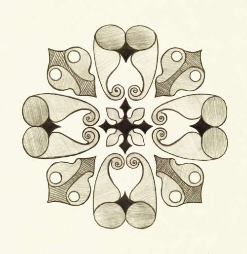 Oriental ornament drawn by pencil. Symmetric decor.