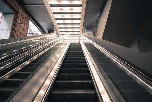 Escalators at a train station