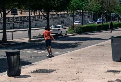 Boys skateboarding