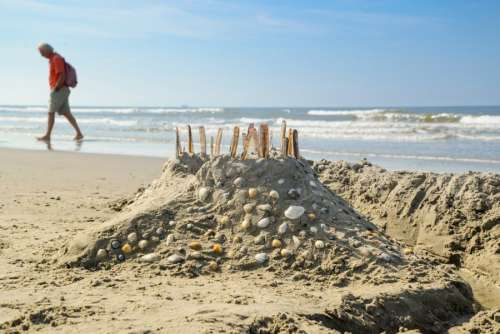 Beach castle with shells