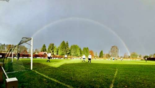 Rainbow above football pitch | The Netherlands