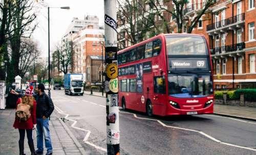 Bus driving through London