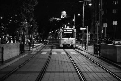 Tram stop in Budapest